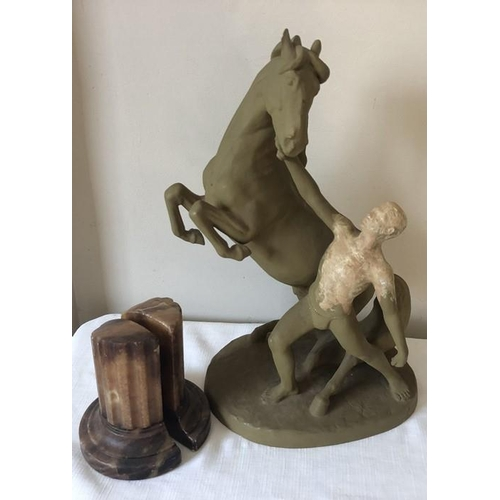 12 - Marble column bookends and a Goldscheider model of a man and horse (painted) 42cms h....