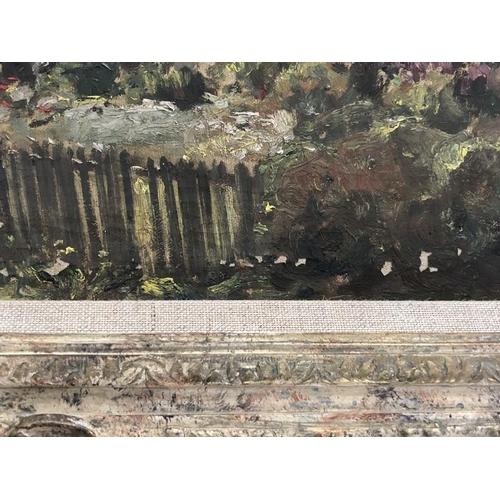 1239 - Owen Bowen. Oil on canvas cottage scene, signed L.L. 27 x 37cms.