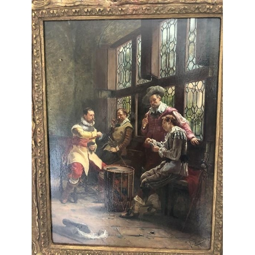 1241 - T. Baratti, 1878. Continental oil on panel. Gentleman playing cards, signed L.R. 30 x 22cms in decor...
