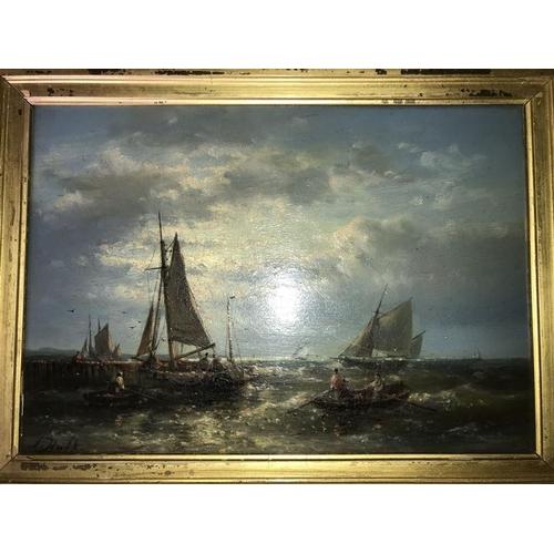 1242 - Abraham Hulk. A pair of oil on panel seascapes signed L.L. A. Hulk. 17 x 25cms.