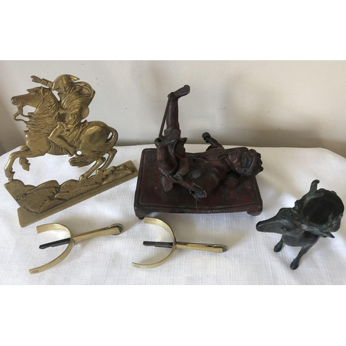 13 - Japanese acrobat, missing partner, 19thC bronze deer, brass spurs with boot fittings and brass Napol...