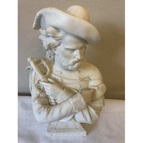 14 - A Parian bust of Garibaldi C1860 a/f to base, 29cms h....
