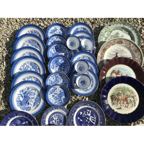 17 - Dinner ware including Blue and White Willow pattern, Copeland Spode tea ware, decorative plates incl...