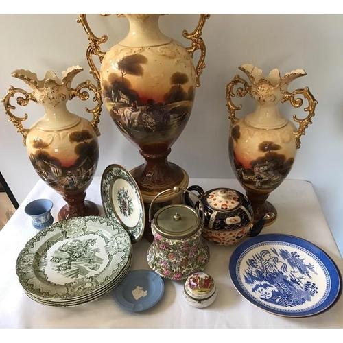 2 - Various ceramics, mainly 19thC, some slight a.f. including 2 Copeland china plates, Wedgwood vase an...