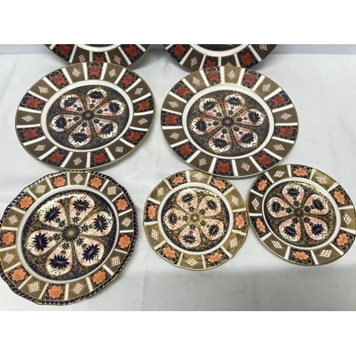 20 - Royal Crown Derby Imari pattern plates. 4 x 27cms, 2 x 18cms and one with blue border, 22.5cms....