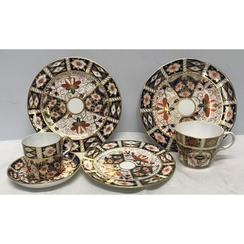 21 - Royal Crown Derby selection, coffee cup and saucer, one teacup, 2 side plates 18cms and a small side...