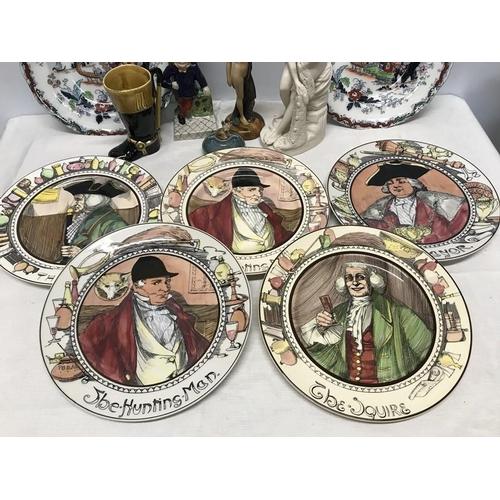 22 - Mixed lot of ceramics, Royal Doulton series plates 27cms w, reproduction art deco figure 21cms h, bi...