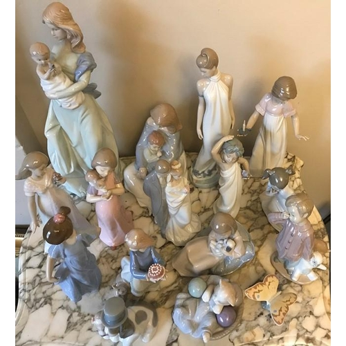 27 - Nao figurines, 16 various, 39cms h including bride and groom, mother and baby, dogs etc, all good co...