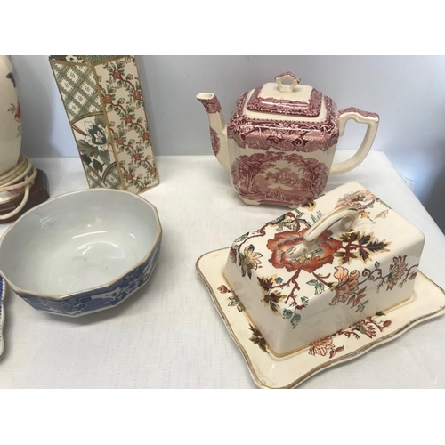 37 - Masons Ironstone Pottery selection. Mandalay table lamp, 38cms h, jug 14cms, Applique vase, 25cms h,...