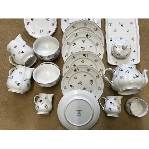 39 - Villeroy and Boch Petite Fleur pattern tea and dinner ware. 33 pieces, very good condition....