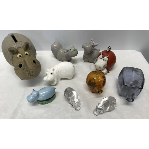 41 - Collection of Hippo ornaments including Nao LLadro, Villeroy and Boch, Royal Osborne, Muggins potter...