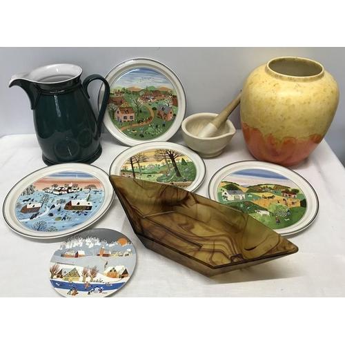 43 - Mixed lot, Villeroy and Boch Four Seasons plates, 23cms w, large Denby jug, 23cms h, large Avon Pott...