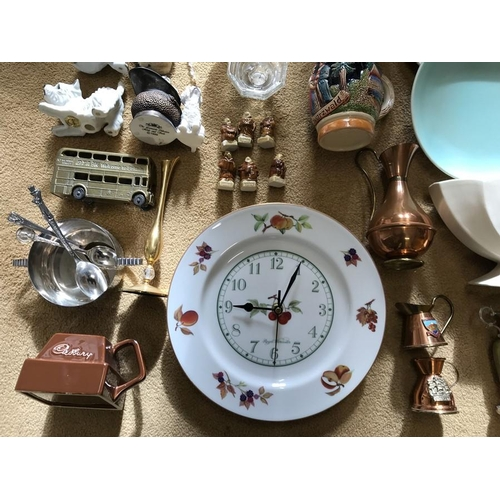 45 - Mixed lot, Royal Worcester clock, Poole plates, Eastgate vase (chip to rim) Wade Friars and various ...