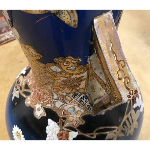 47 - Pair of Japanese Satsuma tall vases, circa 1900, floral and gilt decoration. 55cms h....