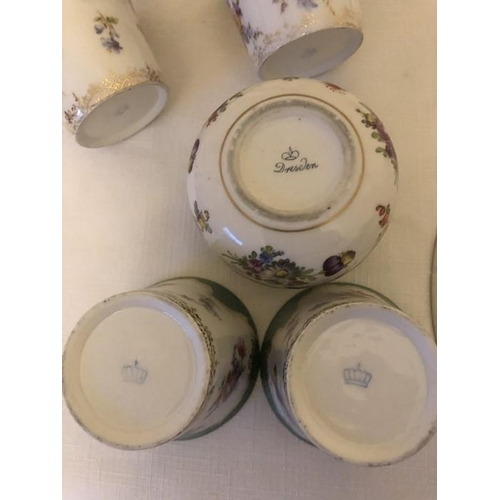 56 - A pair of 19thC Derby bowls, 1 with hairline to centre with Continental porcelain cans and lidded po...