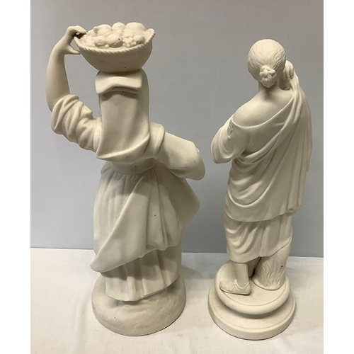 6 - Two Parian female figures in good condition, one marked Diana and initials J W to rear. 37cms h....