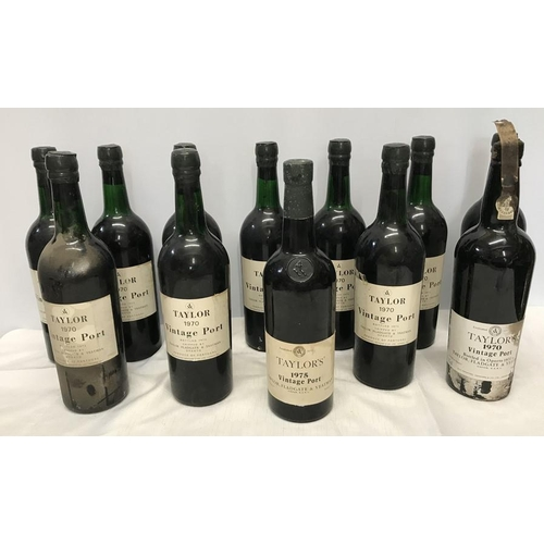12 bottles of Taylor's  Vintage Port. 11 x 1970, bottled 1972 75cl and 1 x 1975, produce of Portugal. All unopened.