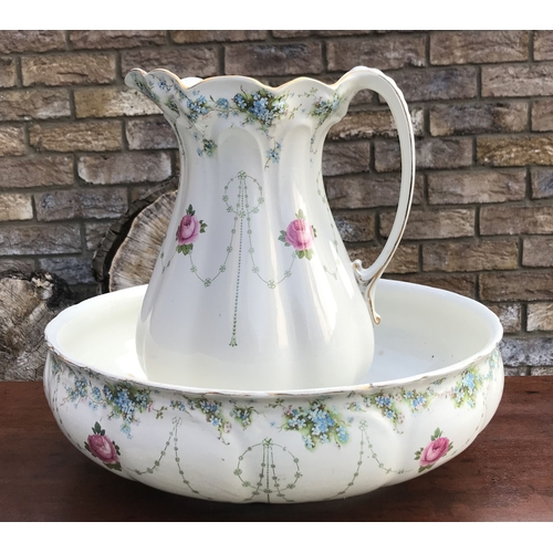 1B - A Victorian wash jug and bowl with forget me nots and roses, Royal Staffordshire pottery, Wilkinson ...
