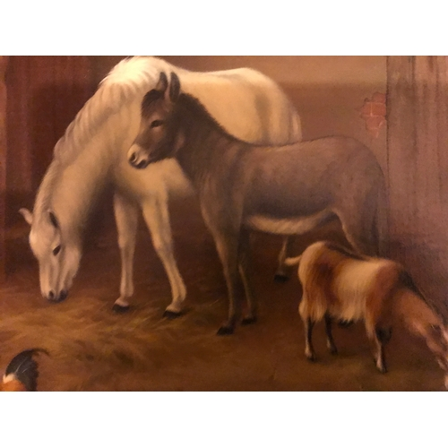 1240 - Edgar Hunt 1876-1953. Oil on canvas stable scene, horse, donkey, goat and chickens signed E. Hunt 19...