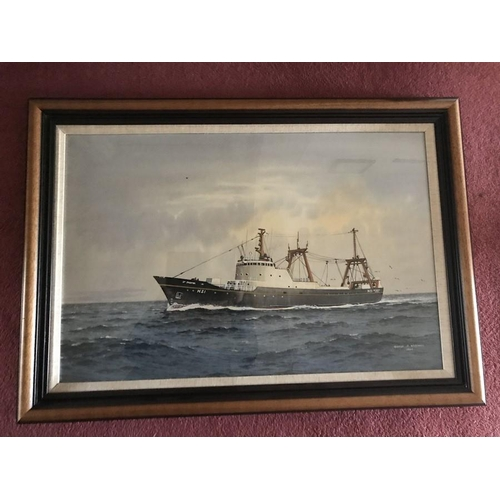 1372 - George P. Wiseman, watercolour, ships portrait of the St. Jasper of Hull, signed L.R. 1968, 44 x 66c...