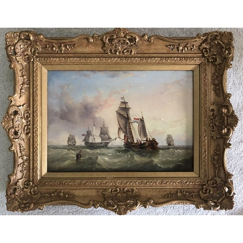 1373 - Henry Redmore. Oil on canvas seascape. Signed L.L. H.R. Redmore. 27 x 39cms (relined)