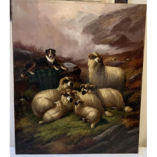John Barker (1811-1886) oil on a canvas, sheep in a landscape. 78 x 63cms. Signed L.L.
