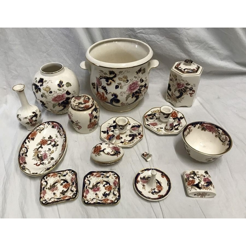 342 - Masons Mandalay, jardiniere 20 h x 21cms w, 2 vases, small ginger jar 11cms h, lidded container 17cm...