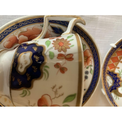 344 - Five early 19thC porcelain cups and two saucers including Newhall bat print can.