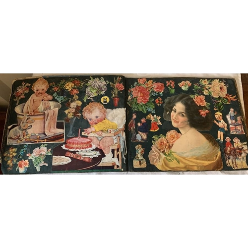 758 - An early 20thC scrap book with multiple pages of colourful scraps.