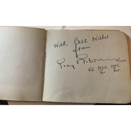 A mid 20thC autograph book collected by Joan Richardson AKA Joan Peters, singer and actress, signed by many prominent military and entertainment figures of the time to include Guy Gibson, Jack Leggo, Air Marshall Sir Harold Brownlow-Morgan, Leonard Sumpter and others of the Dam Busters, entertainment figures to include Dickie Valentine, Laurel and Hardy and numerous from various walks of life to include Fred Perry, George Brough, Gordon Steele VC, Jack Vivian, squadron leader of Bomber Command. Full list in the condition report. 120 approx.