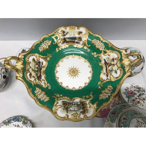 1 - Pottery selection to include green and gilt centrepiece with painted panels 21cms d, 2 x Chinese gin...