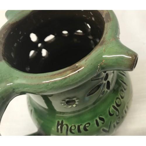 7 - Branham pottery Barum Devon puzzle jug with verse 9.5cms h, Wold Pottery mug 13cms h  and a studio p...