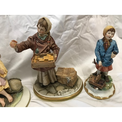 15 - A collection of Capodimonte figurines by B Meili, Street Seller Matches 24cms h, Street Seller Figs ...