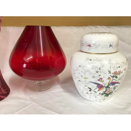 21 - A mixed selection to include a cranberry glass goblet 20cms h, a cut glass vase 30cms h, a  pair of ...