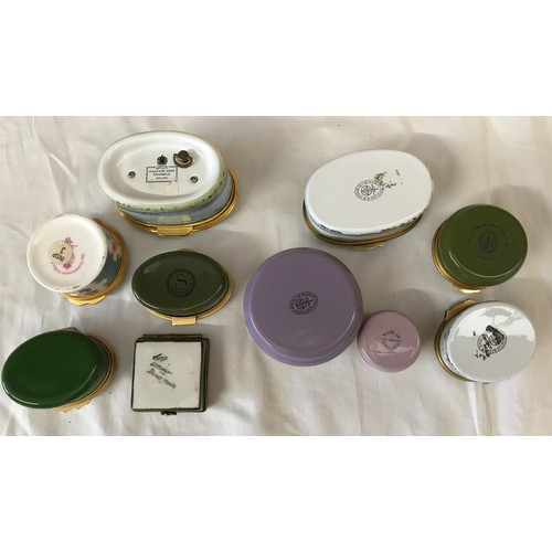 24 - A collection of pill/patch boxes: one Bilston, one Limoges, one Royal Worcester, one musical Halcyon...
