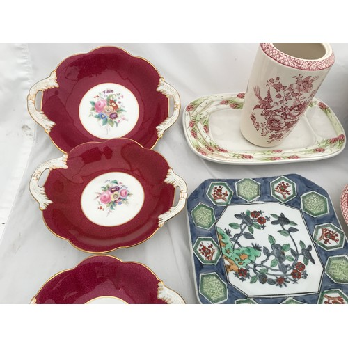 26 - A quantity of pottery to include Coalport trio of dishes, largest 25cms w, Bossano asparagus dish, M...