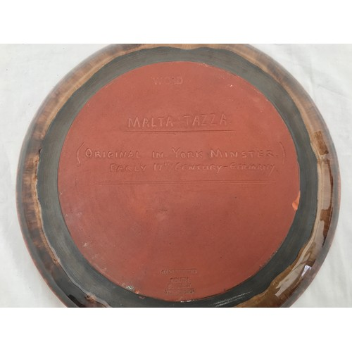 31 - Wold pottery, Routh. Beverley 'hand thrown' decorative plate of Malta tazza, copy of original in Yor...