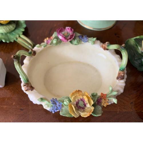 32 - Seven various ceramic posies to include Crown Staffordshire, Coalport, Adderley, Denton china etc.