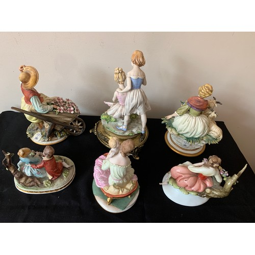 35 - Six Capodimonte  porcelain figurines, one with brass base unmarked.