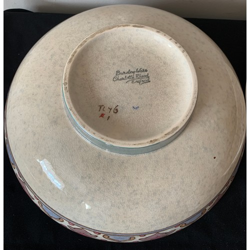 36 - Poole pottery plate 34cms d and jam pot together with a Charlotte Rhead bowl.