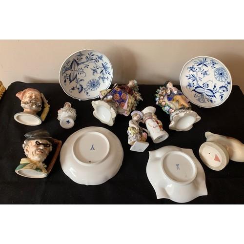 38 - Continental ceramics to include Dux duck, Meissen plates, figurines etc.