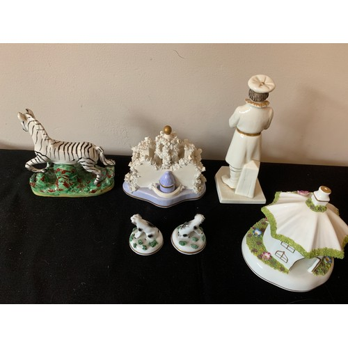 39 - Ceramics to include 19thC Staffordshire zebra, two small dogs, 'The Umbrella House' by Coalport and ...