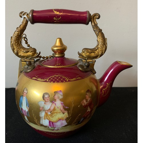 42 - A fine quality Royal Vienna hand painted porcelain teapot, signed Tanz & Werberg with metal dragon h...
