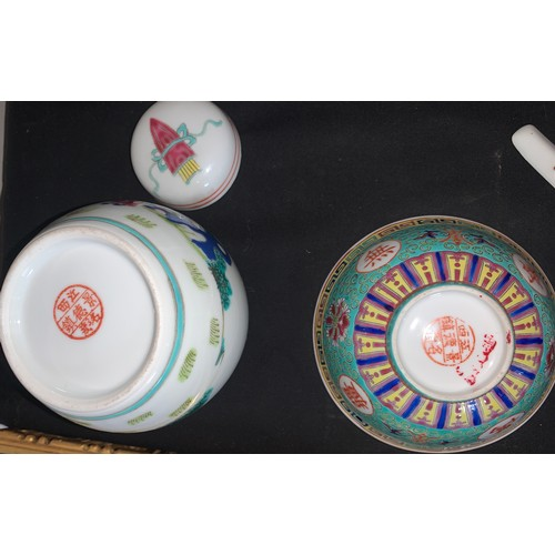 44 - A collection of 19th/20thC Oriental ceramics to include 2 ginger jars, 2 Imari plates 21cms d, rice ...