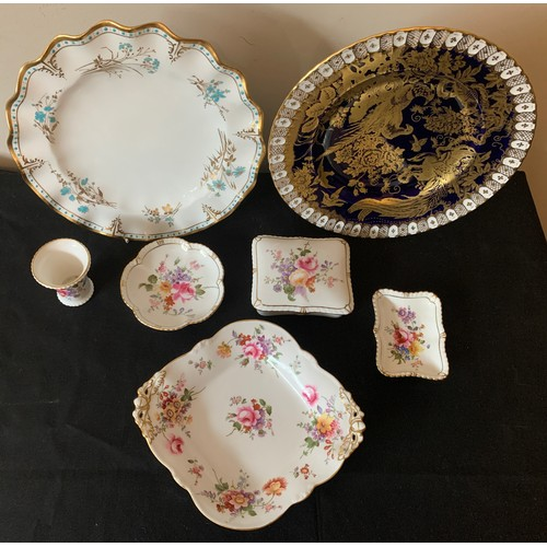 46 - Royal Crown Derby to include Derby Posies, dishes, vases etc, Normandie plate, 26cms d, blue ground ...