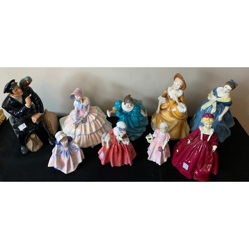 48 - Eight Royal Doulton figurines including Shore Leave HN2254, Day Dreams HN143, Rhapsody HN2267, Adrie...
