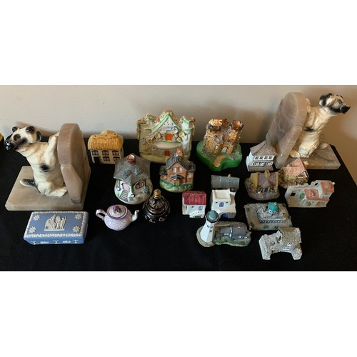 49 - Ceramics including 19th & 20thC houses etc, Wedgwood lidded pot, ceramic dog and onyx bookends,  min...