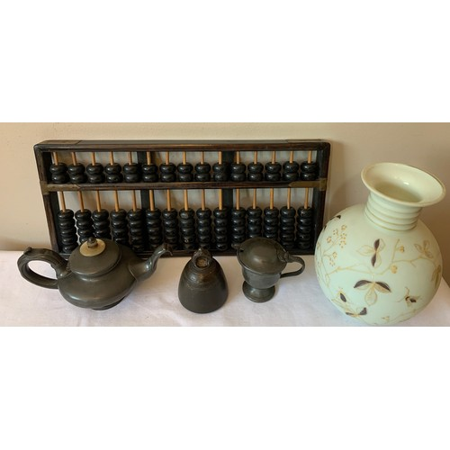 97 - A miscellany to include pewter teapot by Wolstenholme Sheffield, ceramic lined mustard pot, metal we...