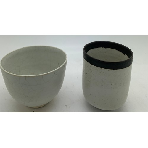 98 - Two studio pottery bowls. One marked Lucie Rie and the second believed to be by her. Tallest 6cms h ...