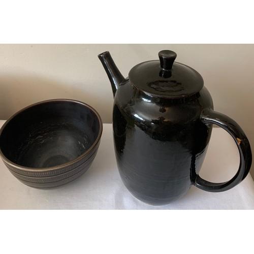 99 - A Royal Copenhagen Aluminia bowl circa 1951, 15cms d with an unmarked studio pottery coffee pot.